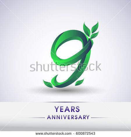 nine years anniversary celebration logotype with leaf and green colored. 9th birthday logo on white background.