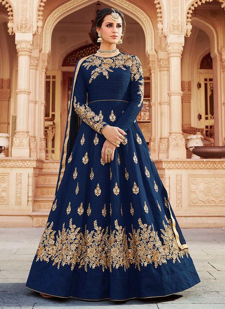 Deep Blue and Gold Embroidered Art Silk Anarkali