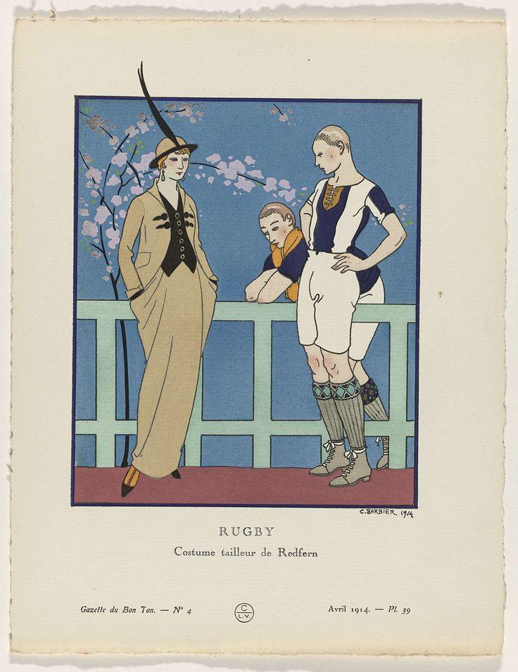 Anonymous | Gazette du Bon Ton, 1914 - No. 4, Pl. 39:  Rugby /Costume tailleur de Redfern, Anonymous, Redfern, Lucien Vogel, 1914 | Vrouw voor een hek, gekleed in een mantelpak van Redfern, bestaande uit een jasje met zwarte brandebourgs, een klein vest en een rok. Hoedje met lange opstaande veer. Rechts twee rugby spelers. Planche 39 uit Gazette du Bon Ton 1914, No. 4.