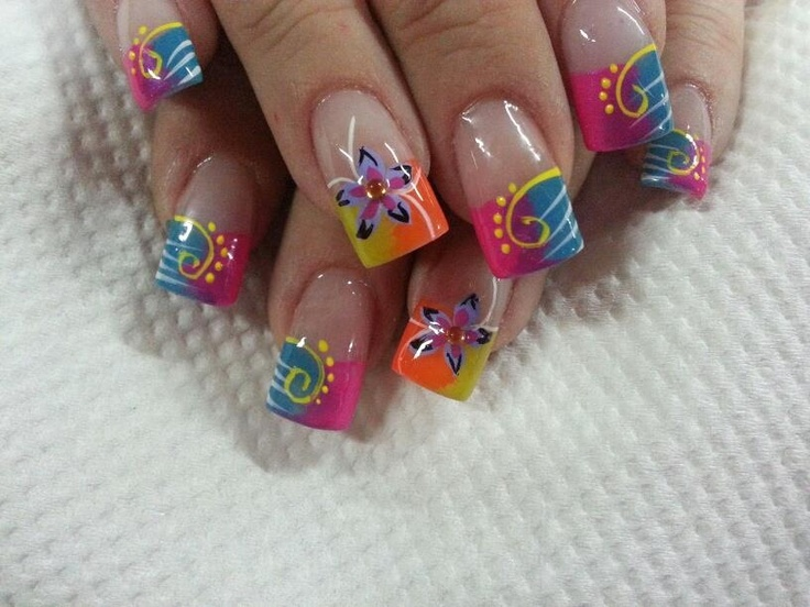 Uñas degrade flower