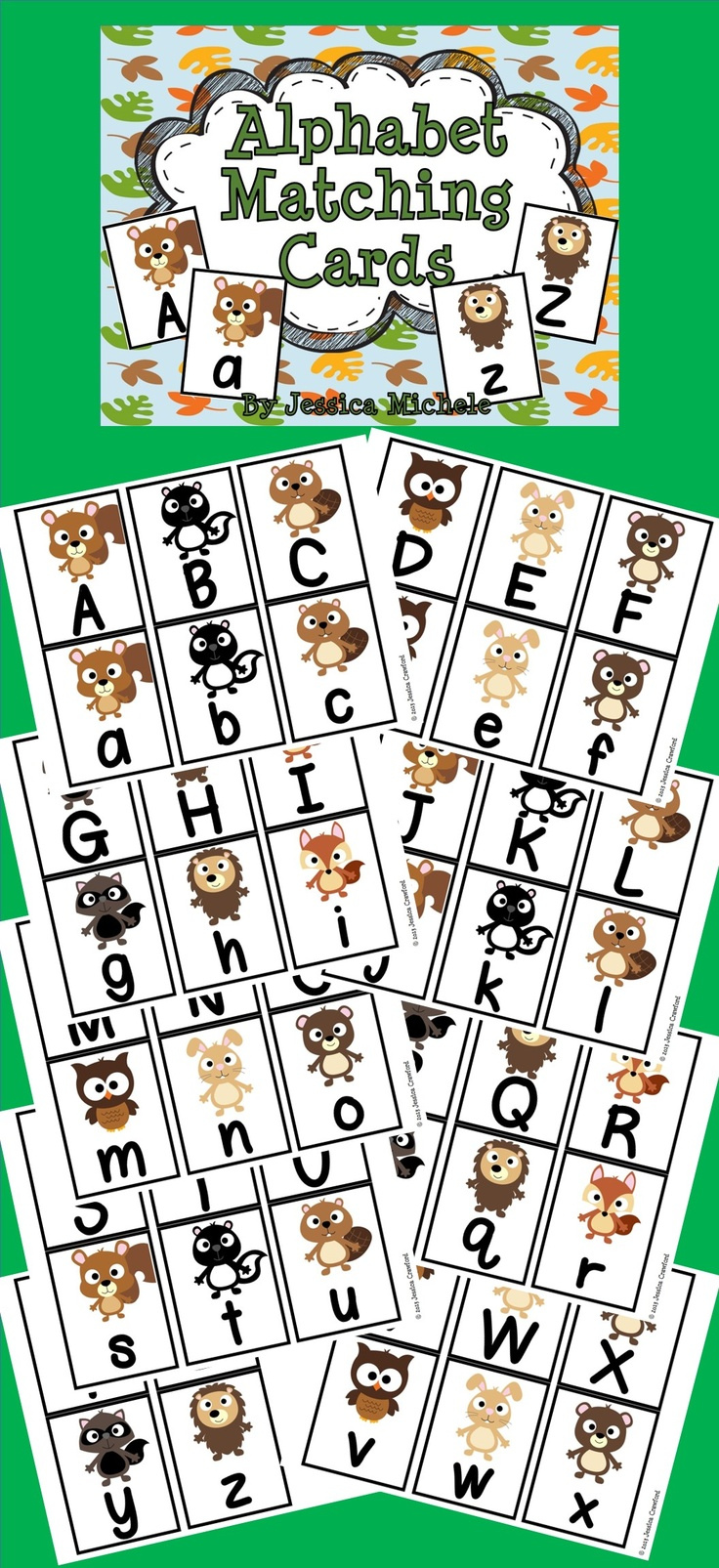 Your students will love to match their uppercase and lowercase letters using these fun woodland animal themed alphabet matching cards! $