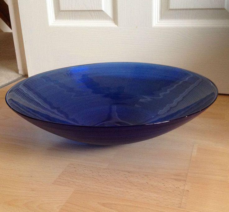 Lovely Large Vintage Ribbed Cobalt Blue Glass Fruit Bowl 40cm 15.5 inches wide