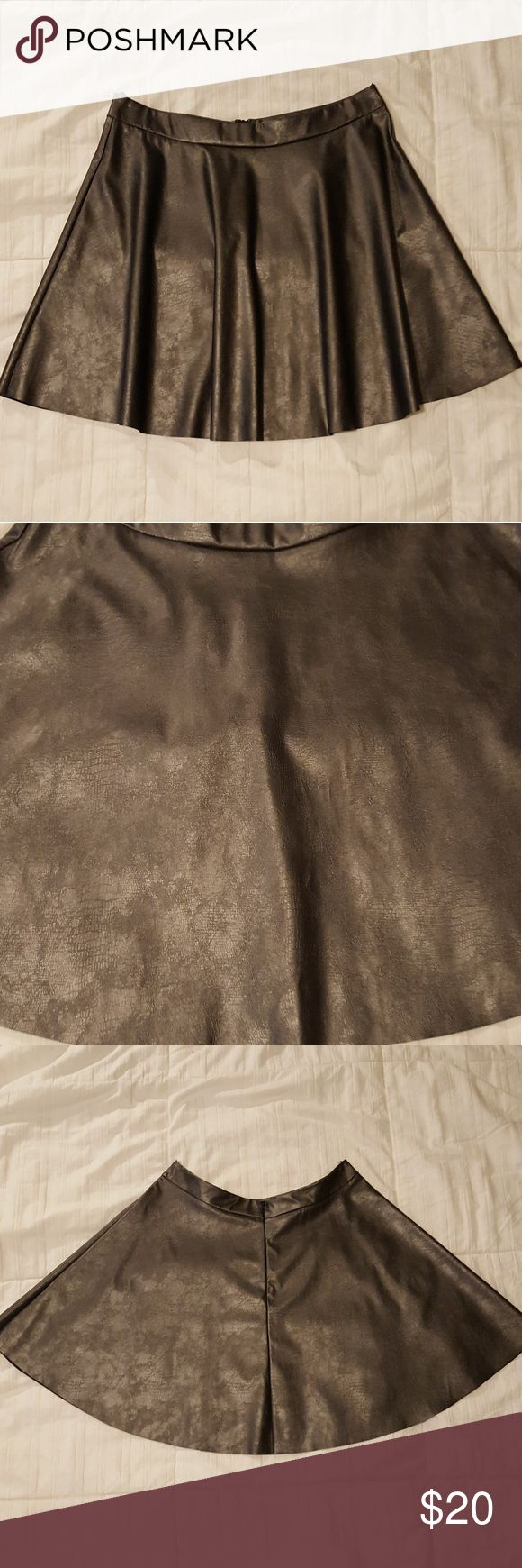 Faux leather skater skirt This skirt is gunmetal gray with an invisible zipper in the back. There is slight snake skin look to the skirt when looked at up close. Lush Skirts Mini