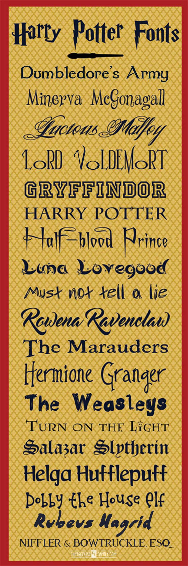 FREE Harry Potter & Fantastic Beasts fonts for crafts, birthday party invitations, scrapbooking, cosplay and more!