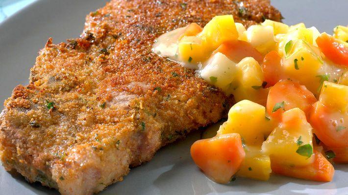 Panerte koteletter med stuede grønnsaker - MatPrat
