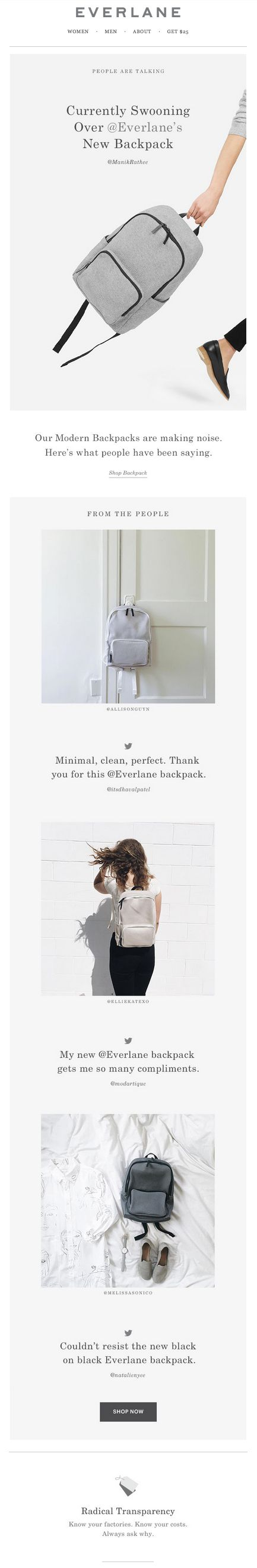 Everlane social proof back-to-school email. Subject line: Our-Backpack. Your Feedback.