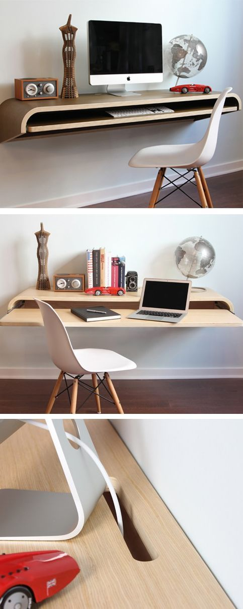 Minimal Floating Wall Desk | furniture design