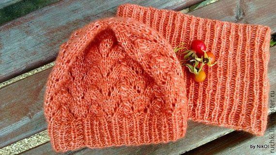 Вязаный комплект шапочка и снудженский от ONiksShop на Etsy