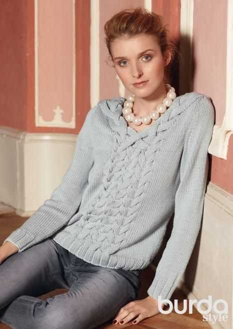 Пуловер с переплетением кос http://burdastyle.ru/master-klassy/master-klassy-burda/vyazanie/pulover-s-perepleteniem-kos/