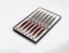 Juego 6 cuchillos mesa Forge de Laguiole en madera de barrica de vino