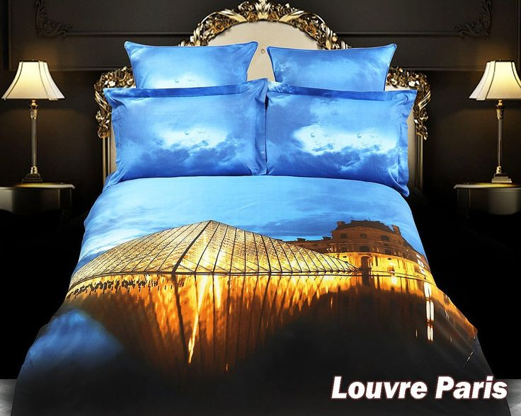 King Size Duvet Cover Sheets Set, Louvre Paris