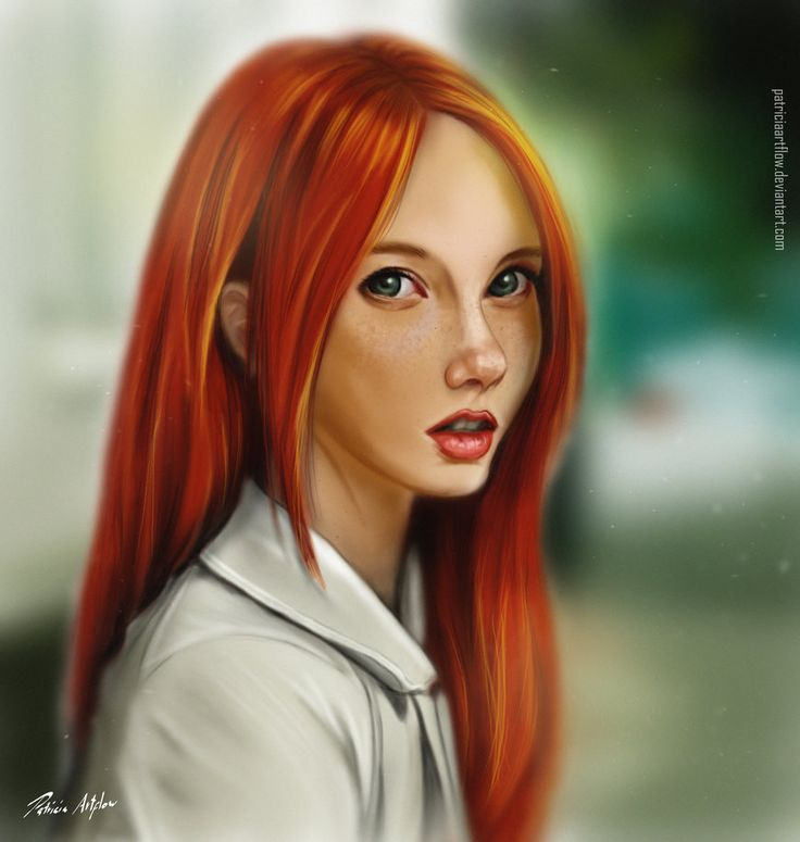 Digital art, painting of a beautiful young redhair woman