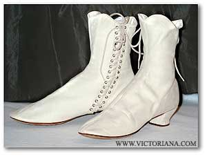 Victorian Shoes:  Soft kid side-lace boots were worn outdoors. While indoors, Victorian ladies wore heeled flat shoes or slippers. These ivory kid boots, a style of Victorian shoes, have a Philadelphia label.