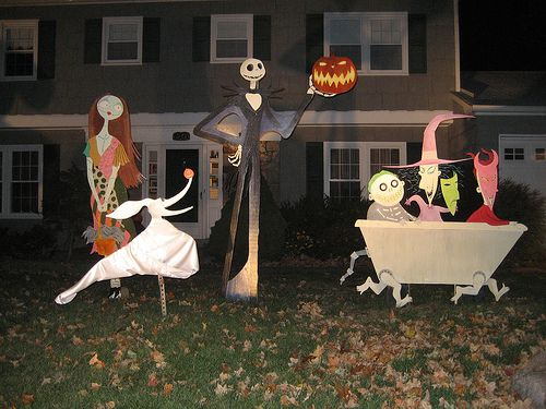 The Nightmare Before Christmas lawn decorations '07 - Night by bradyurk, via Flickr