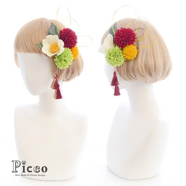 Gallery 114 Order Made Works Original Hair Accesory for SOTSUGYO-SHIKI #byPicco #短め #ボブ でもしっかり #髪飾り #水引き #タッセル で #和スタイル #オリジナル #卒業式 #袴 #着物 #花飾り #イベント #picco #ピッコ #造花 #女子 #ヘアセット #ショートボブ #パーティー #和装 #hairdo #event #flower #japanesestyle #kimono