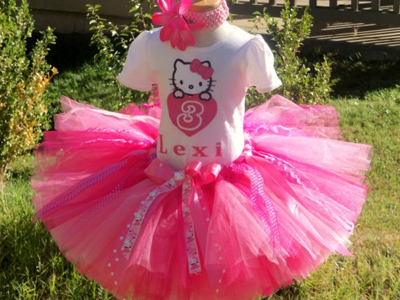 #ST Pretty in Pink Hello Kitty Birthday Tutu Outfit Set by PoshBabyStore.com