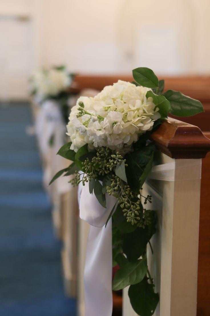 wedding Church pew decorations, pew markers, hydrangeas