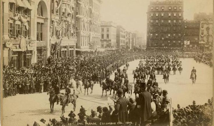 1892 Columbus Day Parade up Fifth Avenue. According to Dana Schulz of 6sq.ft. Annually, the Columbus Day parade draws nearly a million viewers to Fifth Avenue, but that's nothing compared to the festivities of 1892, when New Yorkers celebrated the 400th anniversary of the Italian explorer's Caribbean landing for seven full days. Columbus Week was a completely decked out party with a Hudson River naval parade, Brooklyn Bridge fireworks, a music festival, and the first Columbus Day Parade…