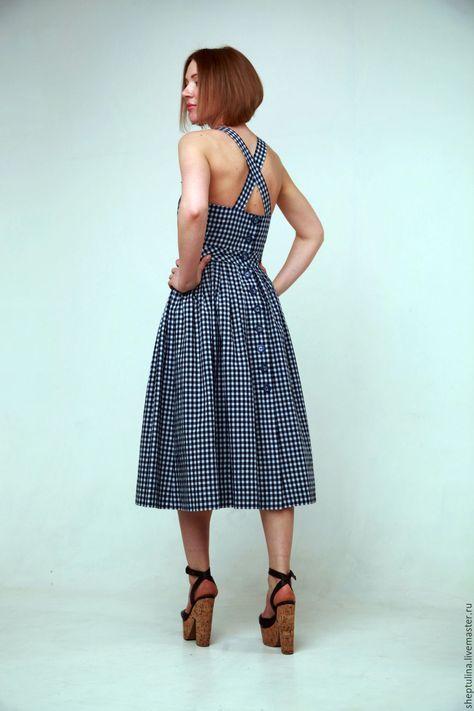 Купить Сарафан хлопок D&G - тёмно-синий, в клеточку, платье ретро, летний сарафан