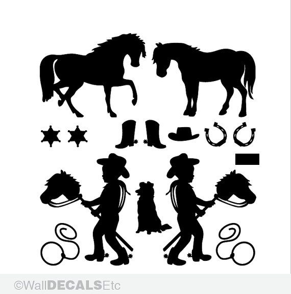 2 Cowboys Wall Decals: Pony, Horse, Boots, Dogs - Kids Room Decor, Cowboy Decor, Baby Nursery Decals, Western Ranch, Old West