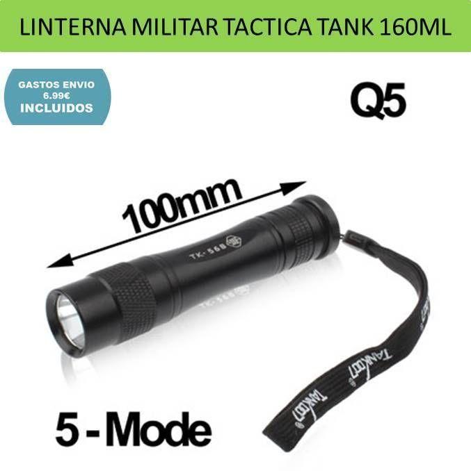 Linternas militares uso tactico luz led cree Tank 160LM 5 modos iluminación perfeta para deportes de aventura, camping, caza y pesca.