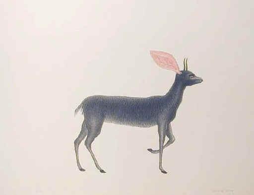 Petr Nikl  Srnec / Roe-deer  litografie, tisk 40x40, papír 100x70