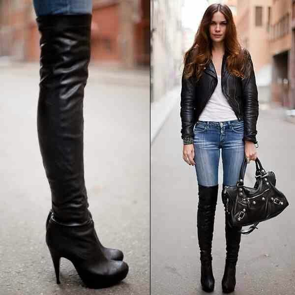 Over the knee high heel boots...sexy! | I Love Shoes | Pinterest