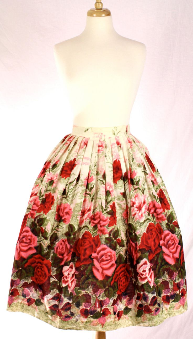 Sweet Valentine 1950s Red Rose Print Cotton Circle Skirt, S/M. $52.00, via Etsy. I would love to serve dinner is this skirt, channeling Mrs. Cleaver.