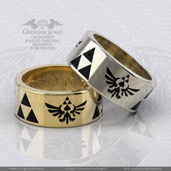 Glorious Zelda triforce inspired ring with by GloriousJewelOnline