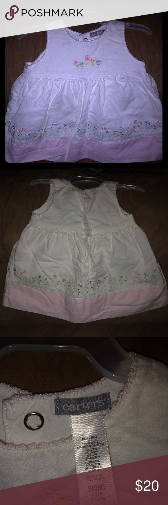 Little girl's Spring/Summer dress Super cute white with flowers Spring/Summer dress. Does have white liner underneath. Comes from smoke free home. Great condition. No spots or stains. Carter's Dresses