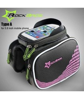 ROCKBROS Cycling Bike Bicycle Front Top Tube Frame Bag with Dual Puches and Mobile Phone Pocket for 5.8 / 4.8 inch