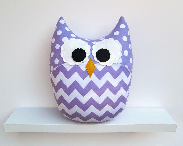 Chevron Pillow Large Plush Owl Purple Lavender Nursery Decor. $32.00, via Etsy.