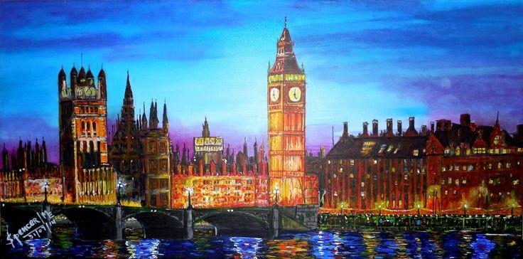 Londres, Acrílico de María Elena Spencer G. (impresionismo)
