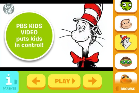 PBS Kids Video App - a free app from PBS.  Kids can watch their favorite show on the go on an iPAD/iPhone. #App #kids #Free