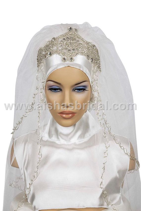Ready To Wear Bridal Hijab  Code HGT0414 by HAZIRTURBAN on Etsy, $80.00
