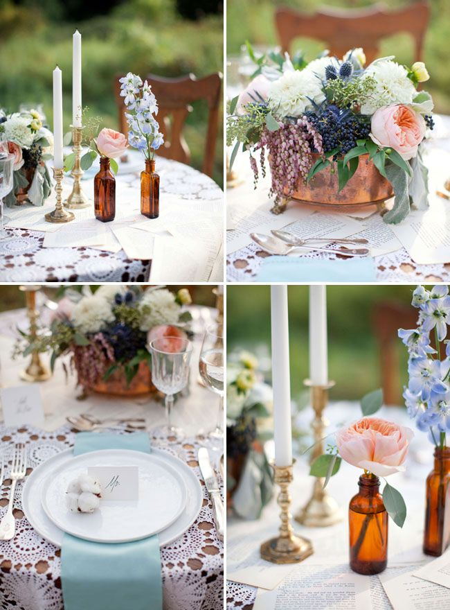 Vintage Fall Wedding Inspiration- Molly this is the pot style thing I was telling you about. What color is that? I think it's more coppery than gold but I love it!