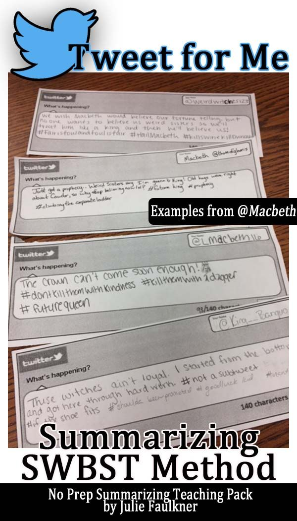 Summarizing Complete Teaching Pack, Any Text, Reading Comprehension, SWBST, Macbeth Creative Activity, Twitter