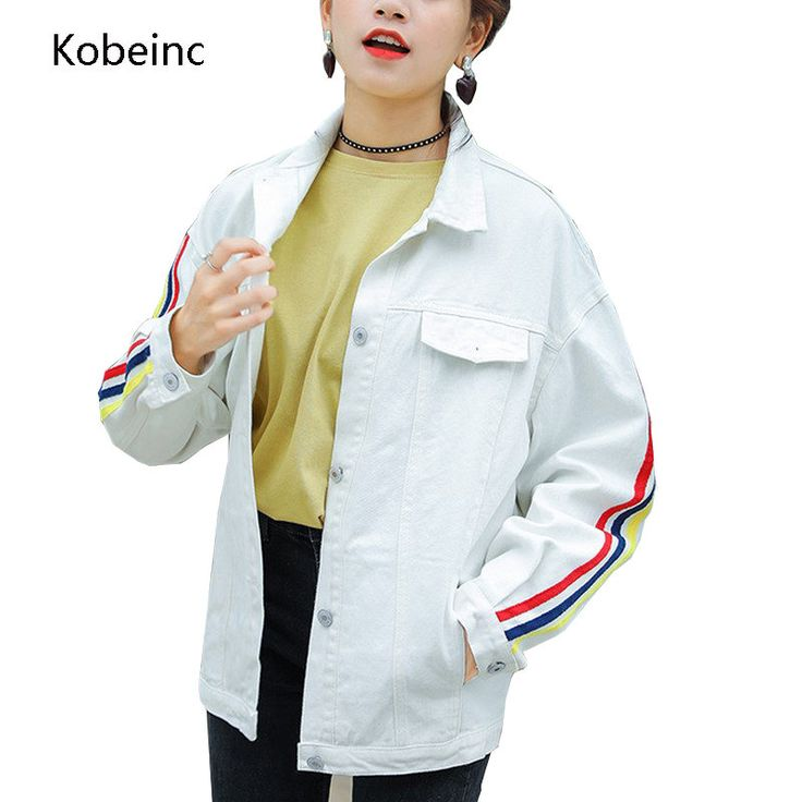 Kobeinc Denim Jacket Women Cute Letter Embroidery Jeans Coats Loose Full Sleeve Abrigos Single Breasted Pockets Casaco Feminino