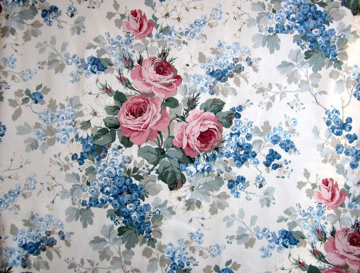 4m Vintage Sanderson MAYROSE Fabric Cotton Sateen Floral country house Blue Pink