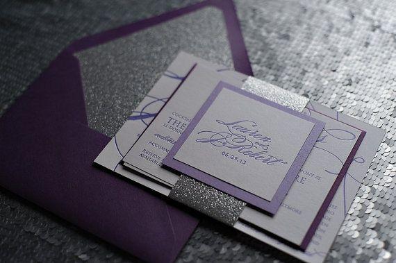 Metallic Calligraphy Letterpress Invitation Suite by JustInviteMe
