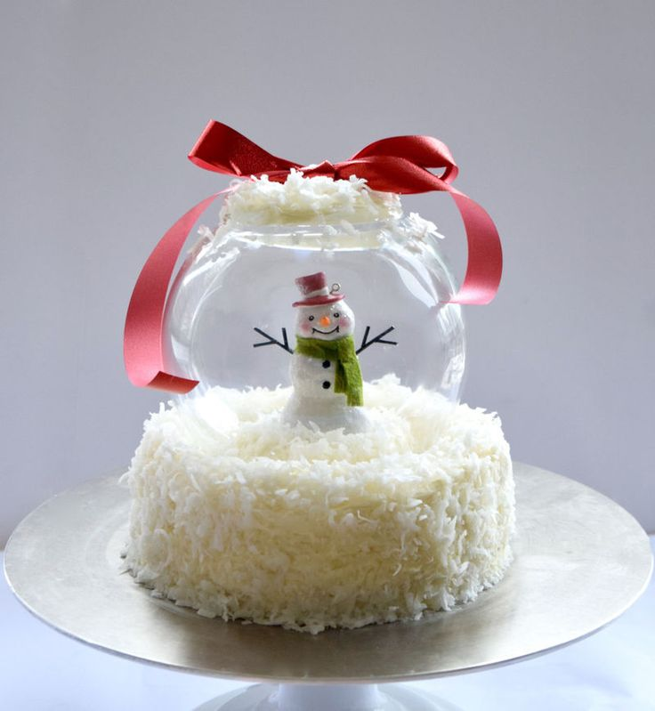 Edible Snow Globe Tutorials : snow globe cake