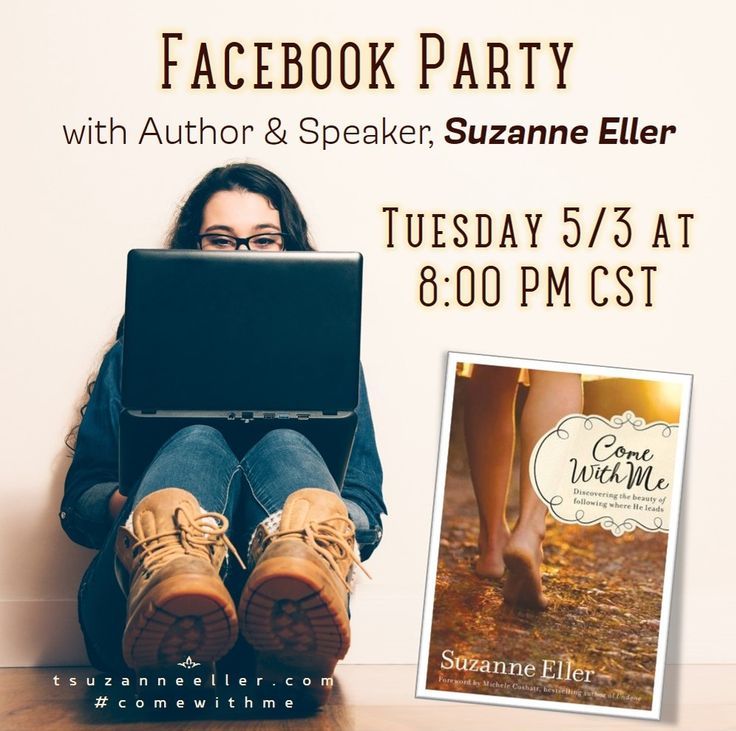 Join us Tuesday night for a Facebook Party to celebrate the release of #Comewithme by Suzanne Eller. Fun, new friends + PRIZES!! Click here: https://www.facebook.com/events/1778588092371182/