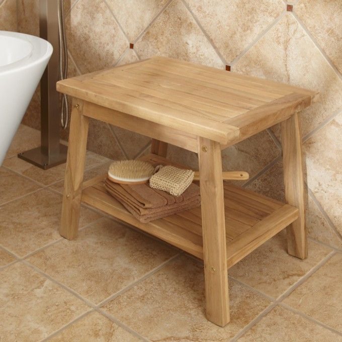 teak shower stool with shelf ada compliant