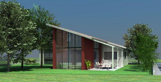Maison contemporaine à toit monopente en tuiles - Atelier Scénario