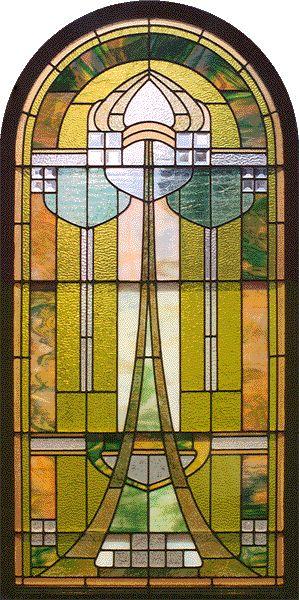 Beautiful Art Nouveau stained/beveled glass window