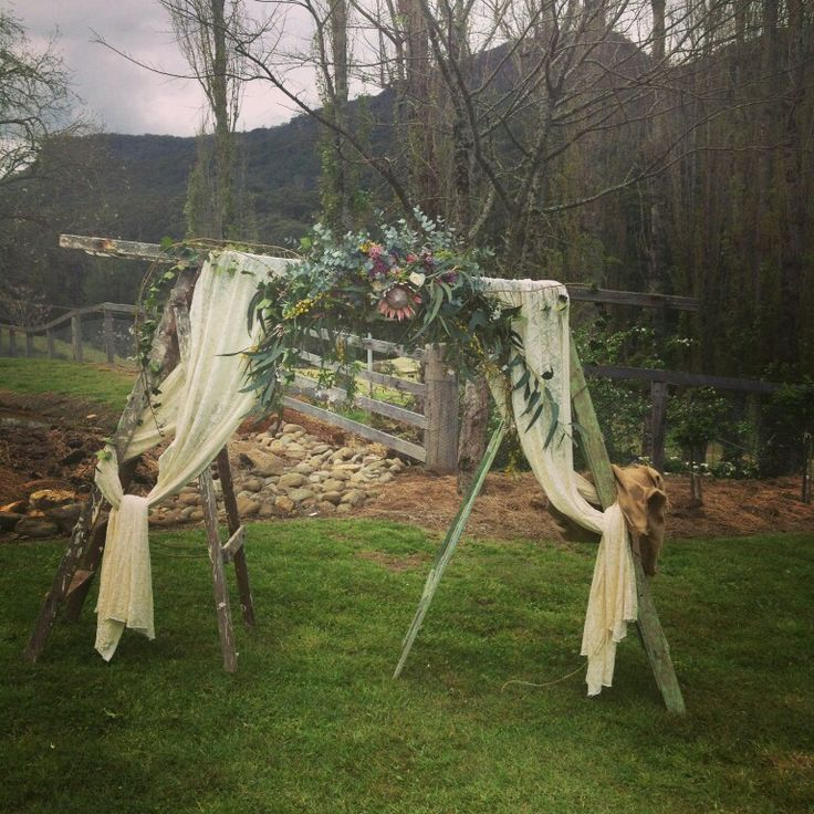 rustic ladder wedding arch