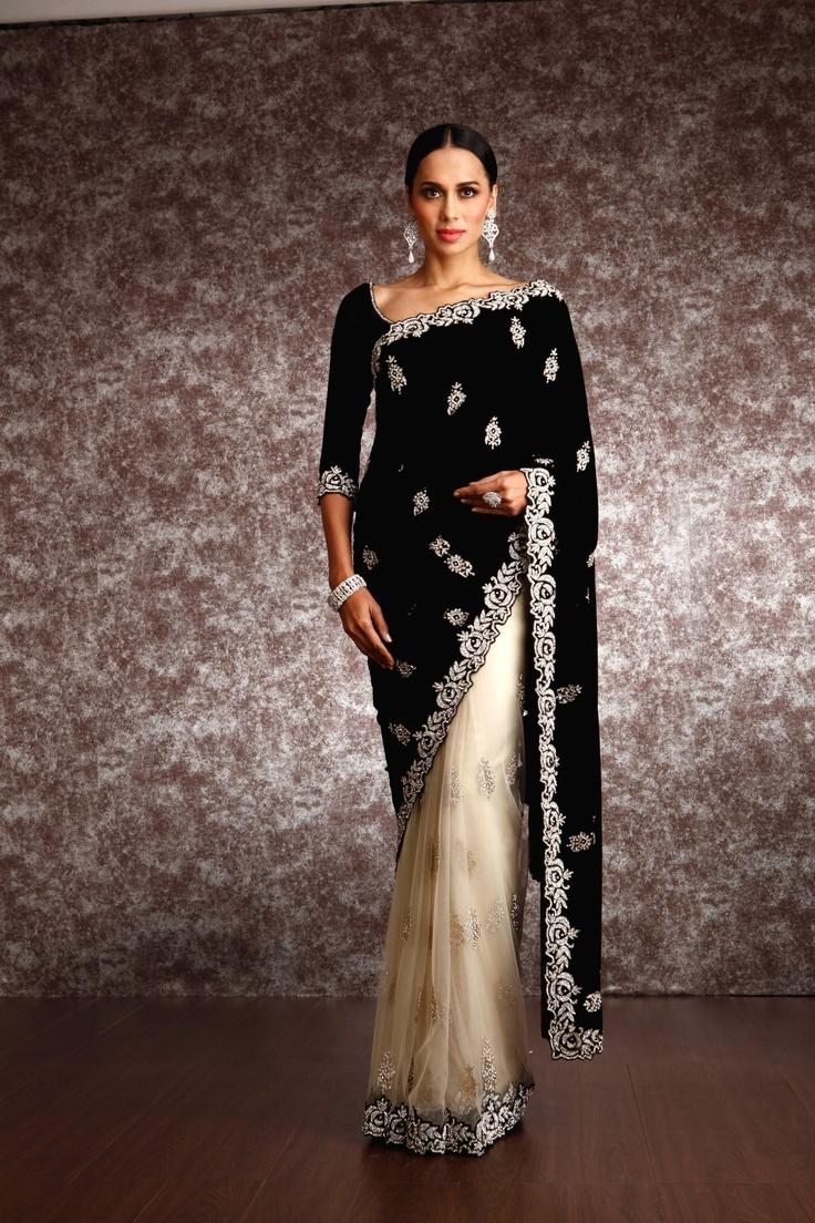 Regal B & W #Saree by http://www.MeenaBazaar.in/ ~