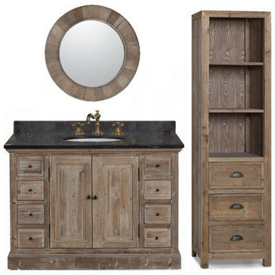 Picture Gallery For Website Best Deal InFurniture WK Recycled Fir Bathroom Vanity Cabinet Optional Black Marble
