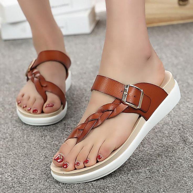Designer flip flops summer sandals women shoes 2018 fashion buckle wedges slides big size light platform beach shoes