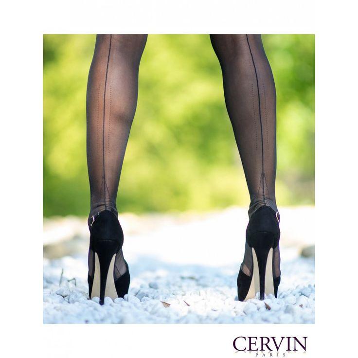 Bas couture opaque Libération 45, des bas nylon talon ajouré Cervin